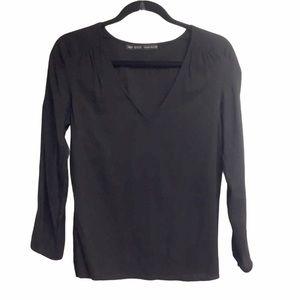 ZARA V-Neck Long Sleeve Popover Blouse Black XS